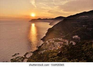 sunset over cinque terre