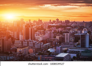 Sunset over the city.