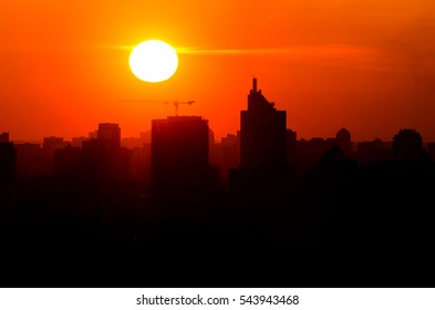 Sunset over the city