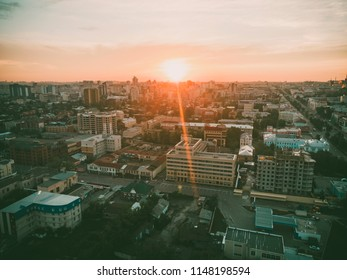 Sunset over the city of Barnaul. The view from the top. Photo from drone, quadrocopter. Altai region, Russia.