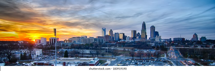 sunset over city of charlotte north carolina