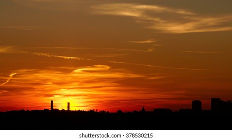 Sunset over the city. Moscow.