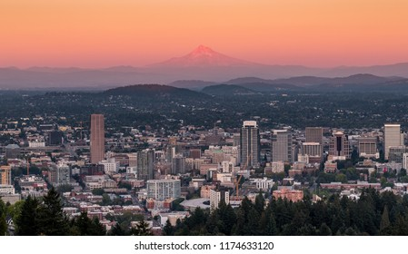 Sunset over the city of Portland Oregon with Mt Hood in the distance