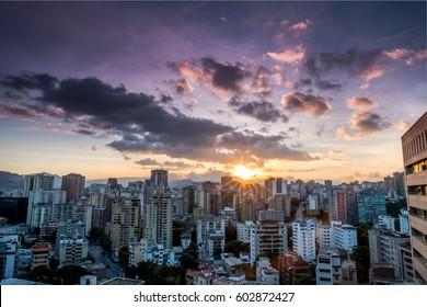 Sunset over Cityscape, Caracas, Venezuela