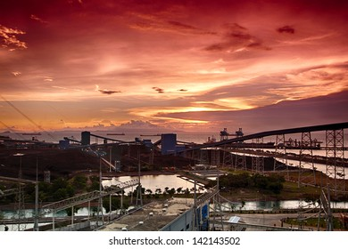 Sunset over a coal materials handling facility