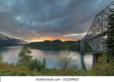 Sunset Over Columbia River Gorge by Bridge of the Gods in Cascade Locks Oregon