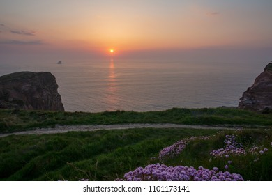 Sunset over the Cornish Coastpath at Perranporth Airfield, Cornwall, UK