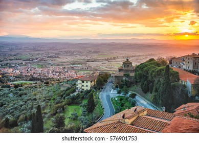 Sunset over Cortona, Italy - view from the top