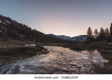 Sunset over creek at Tioga Pass, Yosemite California