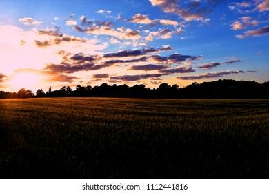 Sunset over Danish countryside