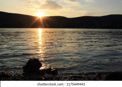 Sunset over the Danube river at Visegrád, Hungary