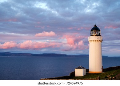 Sunset over Davaar Island Lighthouse, Campbeltown, Kintyre Peninsula, Scotland