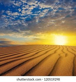 sunset over a desert