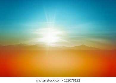 Sunset Over Desert Sky Background Landscape