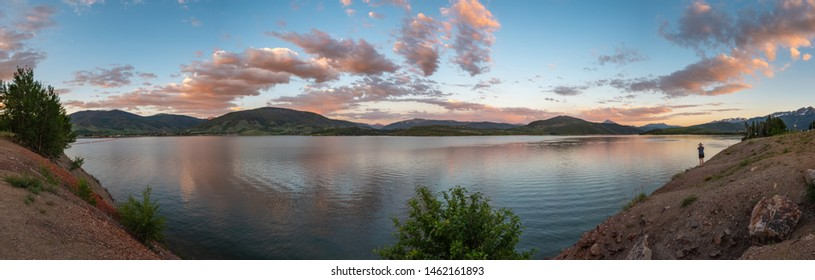 Sunset over the Dillon Reservoir.  Frisco, Summit County, Colorado, USA, July 19th 2019