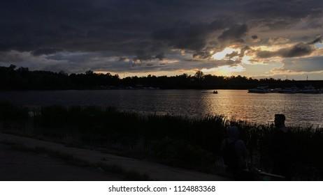Sunset over the Dnieper River in Kiev, Rusanovskaya Embankment, Ukraine