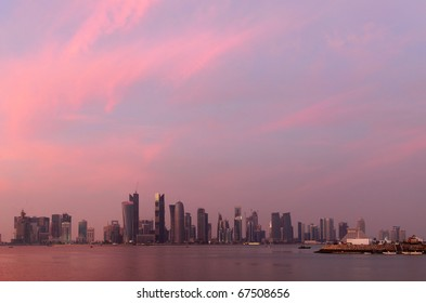 The sunset over Doha bay on National Day, Dec 18, 2010, with the high-rise skyline.