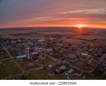Sunset over Dolan, South Dakota, A Small Farming Town