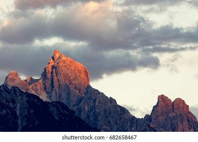 Sunset over Dolomites peaks