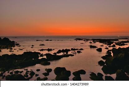 Sunset over Dona Paula view point in Panaji, Goa.
