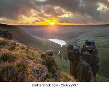 Sunset over Dovestones, near Oldham, UK