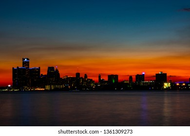 Sunset Over Downtown Detroit from Belle Isle