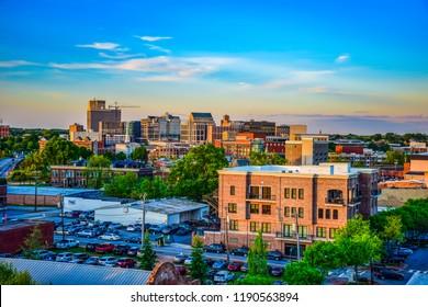 Sunset over Downtown Greenville South Carolina SC Skyline