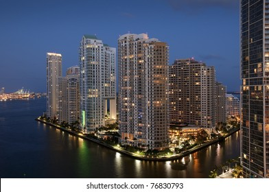 Sunset over Downtown of Miami