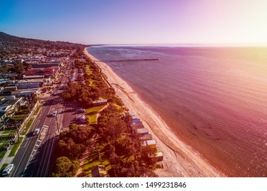 Sunset over Dromana coastline. Mornington Peninsula, Victoria, Australia
