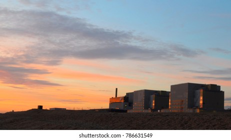 Sunset over Dungeness A, a decommissioned nuclear power station, Kent, UK.