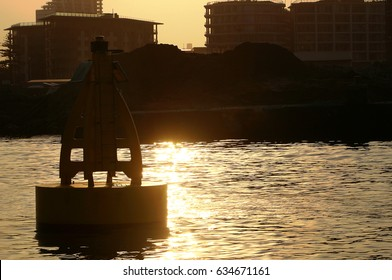Sunset over Durban harbour with bouy, Kwazulu natal, South Africa