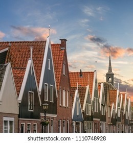 Sunset over the Dutch houses in Volendam, Netherlands