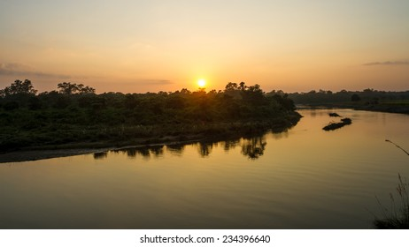 Sunset Over the East Rapti River in Chitwan National Park, Nepal