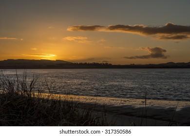 Sunset over the Eden estuary in Scotland