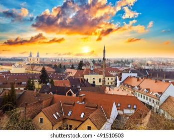 Sunset over Eger, north of Hungary