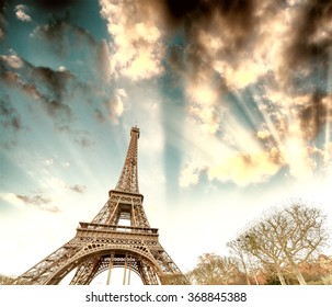 Sunset over Eiffel Tower in Paris.