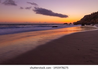 Sunset over El Matador beach in Malibu