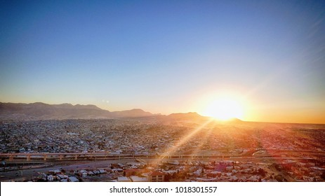 Sunset over El Paso, TX, USA and Juarez, Mexico