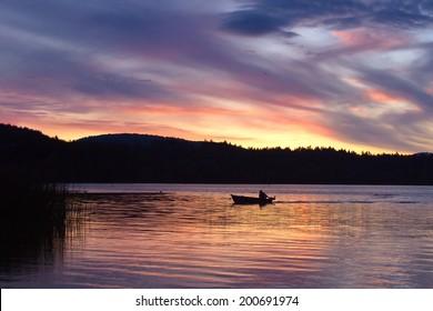 Sunset over Elk lake,Victoria,BC, Canada