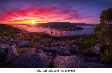 Sunset over the estuary of Vigo from a famous viewpoint and the bank: Galicia is different