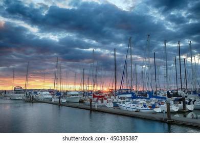 Sunset over the Everett Marina
