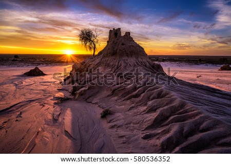 Sunset over the famous Walls of China in Mungo National Park, New South Wales, Australia