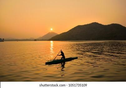 Sunset over fateh sagar lake in Udaipur.