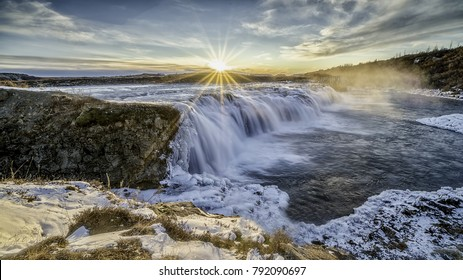 Sunset over Faxi (Vatnsleysufoss) Waterfall, Iceland