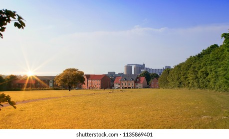 Sunset over a field in Bury St Edmunds, Suffolk