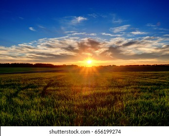 Sunset over field in Poland