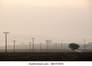 sunset over the fields in fog in summer with electricity poles