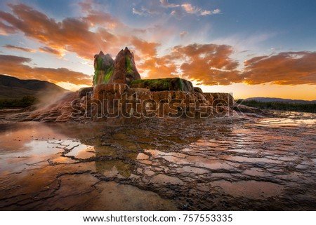 Sunset over Fly Geyser. Ryland West