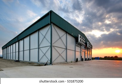 Sunset over a food warehouse