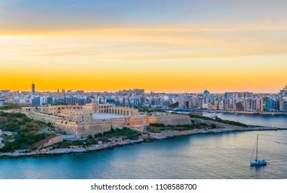Sunset over Fort Manoel in Sliema, Malta